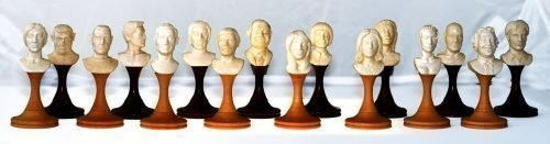 """""""Characters"""" Mammoth Ivory Bust Chessmen"""