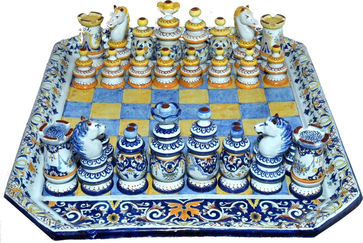 Antique chess set french faience - Collectible chess sets ...