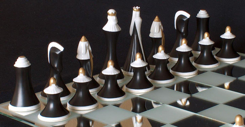 porcelain royal dux chess set - www.chessantiques