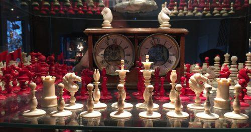 Signed Calvert Antique Ivory Petal and Pistil chessmen