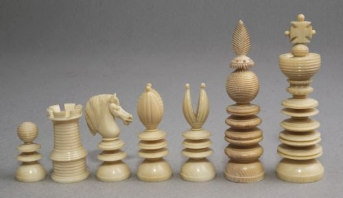 "Lund Ivory Chess Set, 3.7"" King"