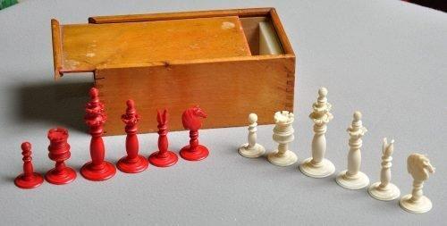 Antique Ivory Petal and Pistil Calvert Chessmen, Set 2