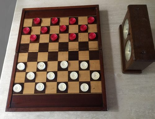 "Antique Ivory Draughts Checkers, 1.2"" x 0.4"""