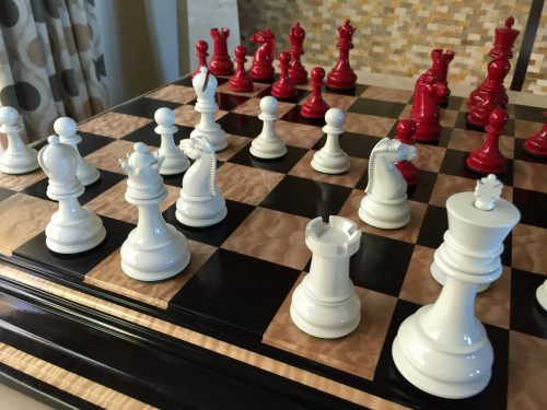 British Chess Company Staunton Chessmen Red and Ivory Lacquered