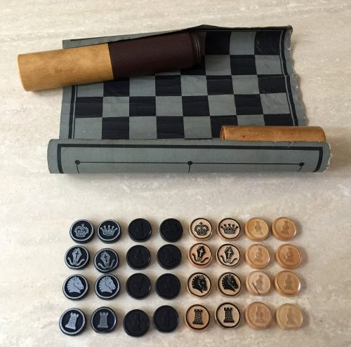 Vintage German Chess, Draughts, Nine Man Morris Portable Games Kit