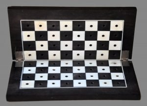 Antique Folding Ebony Travel Chessboard