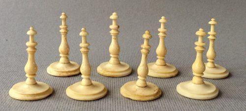 Antique Selenus Bone Chess Pieces