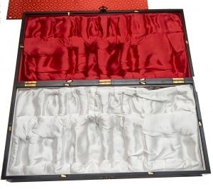 Antique Chess Set, Chinese Deity Carved Ivory Chessmen Box Open