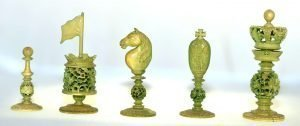 Cantonese Green Stained Ivory Chess Set