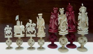 Antique Ivory Cantonese Puzzle Ball chess set