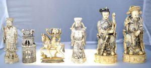 Antique Chess Set, Chinese Deity Carved Ivory Chessmen