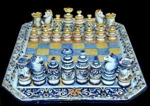 Antique French Faience Chess Set