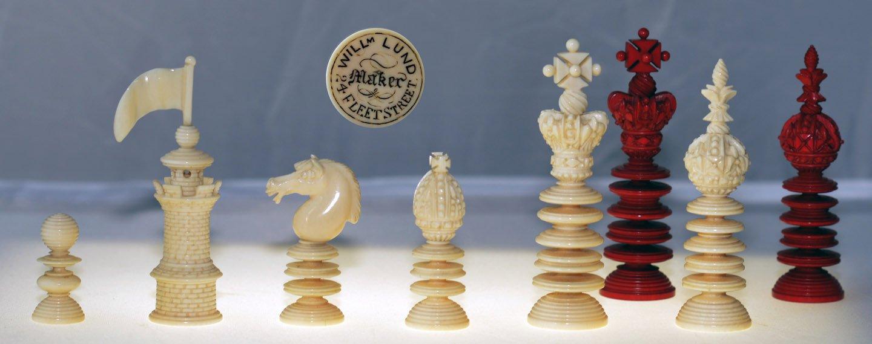 "Merrifield_Lund Signed Ivory Chess Set, 3-3/4"" King"