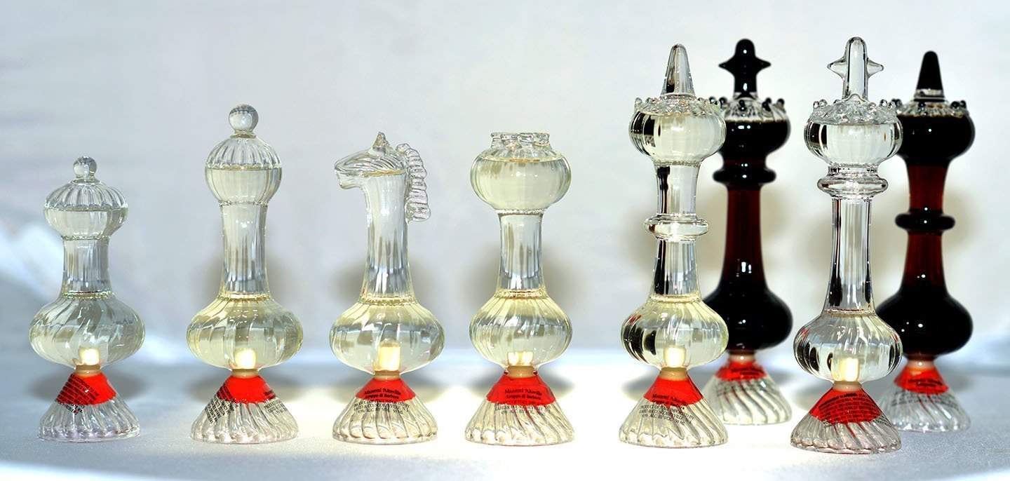 Boxed Set of Grappa Murano Crystal Chess Pieces