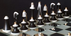 Bohemian Royal Dux Art Deco Chess Set