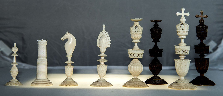 "Vizagapatam Ivory Chess, 5-3/8"" King"