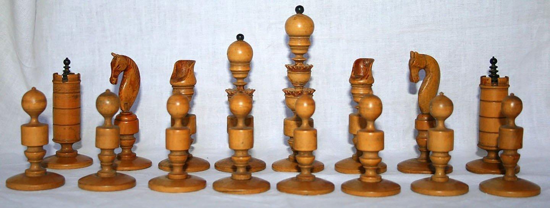 Biedermeier Antique Chess Set