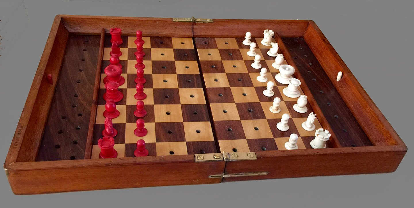 Large Jaques In Statu Quo Travel Chess Set, Type IV