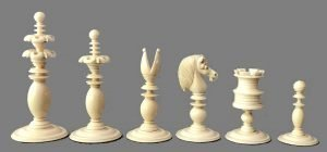 Antique Calvert Petal and Pistil Chessmen