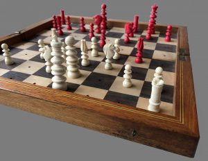Calvert Style Bone Travel Chess Set