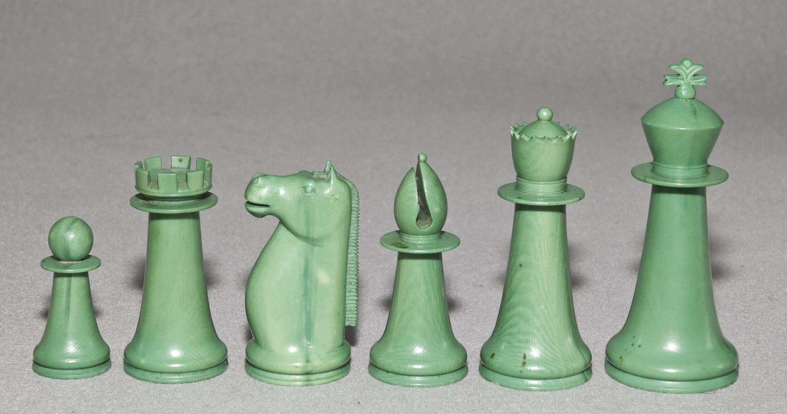 Antique Indian Staunton Chess Set, Green