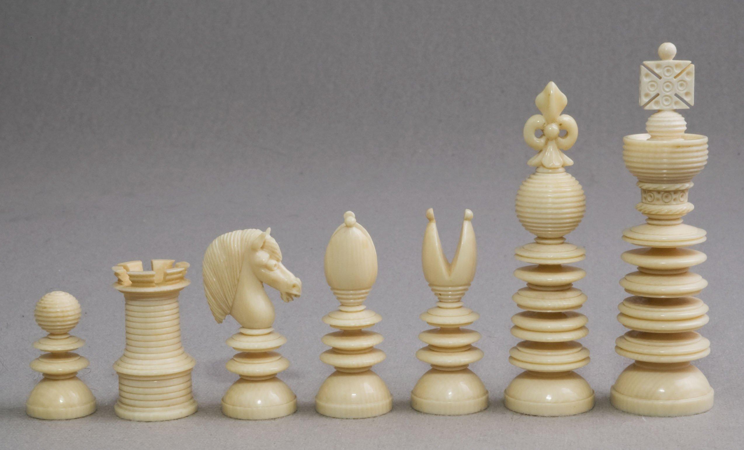 "Lund Signed Ivory Chess Set, 3-1/8"" King"