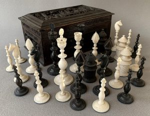 "Antique Vizagapatam Chess Set, 4-5/8"" King"