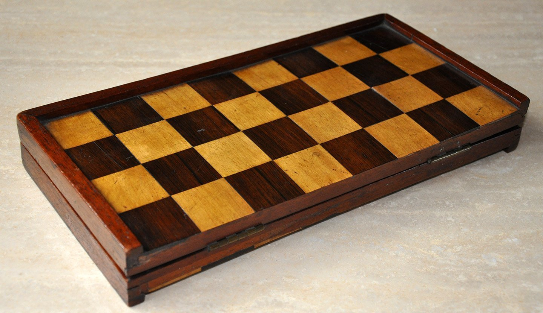 "Antique Folding Chessboard, 1-1/2"" Squares"