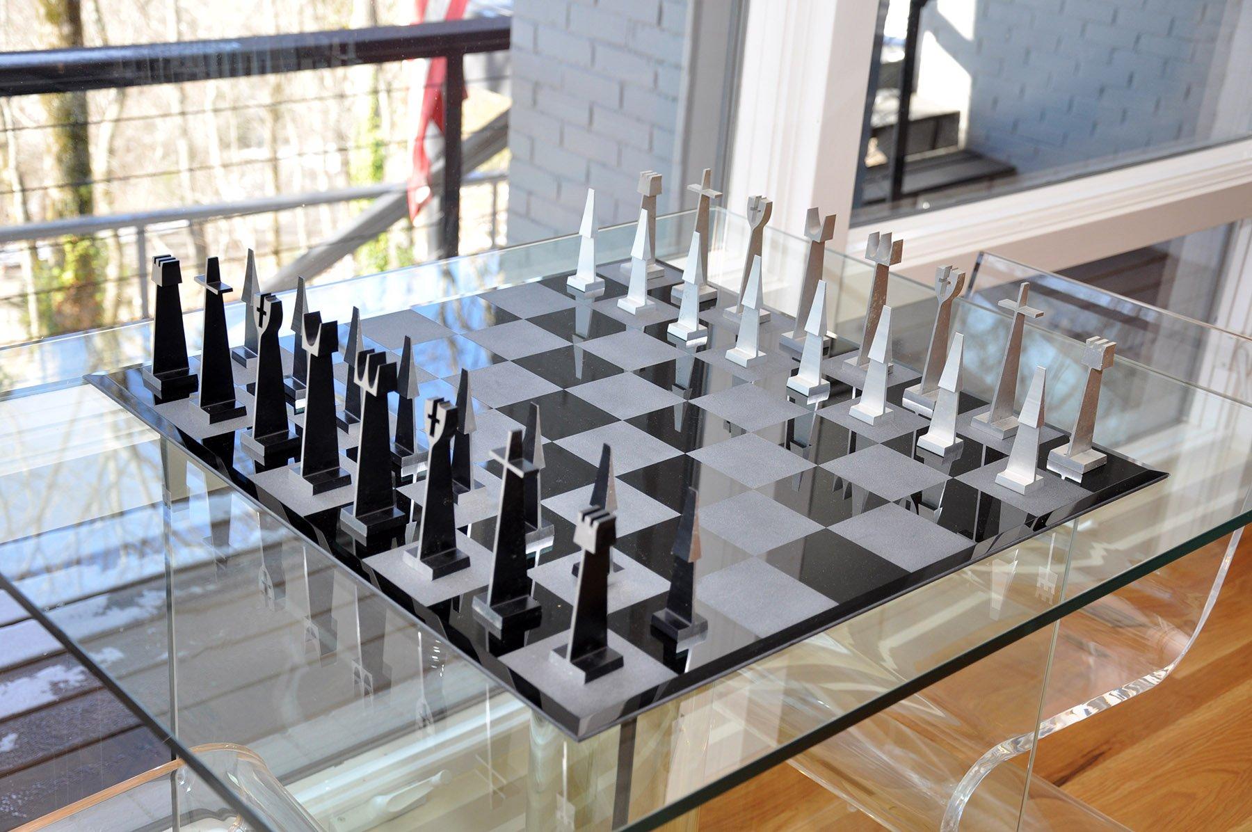 Lot #37  ALCOA Aluminum Abstract Chess Set