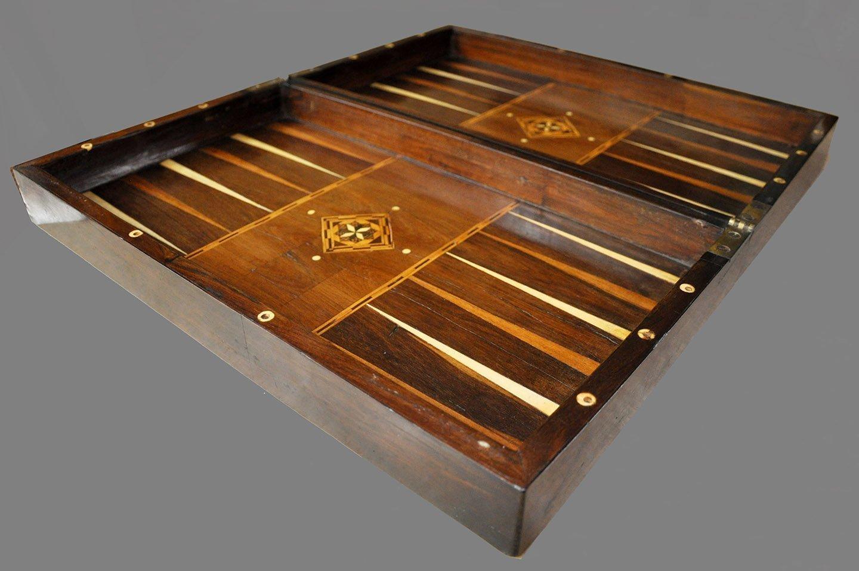 """Antique Folding Coromandel Chess Backgammon Board Box, 21-1/2"""""""