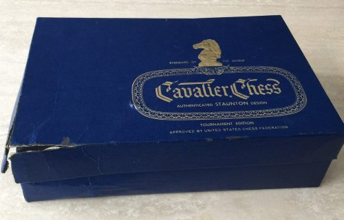 Vintage Cavalier Tournament Edition Plastic Chessmen, No. 1943, Damaged Box