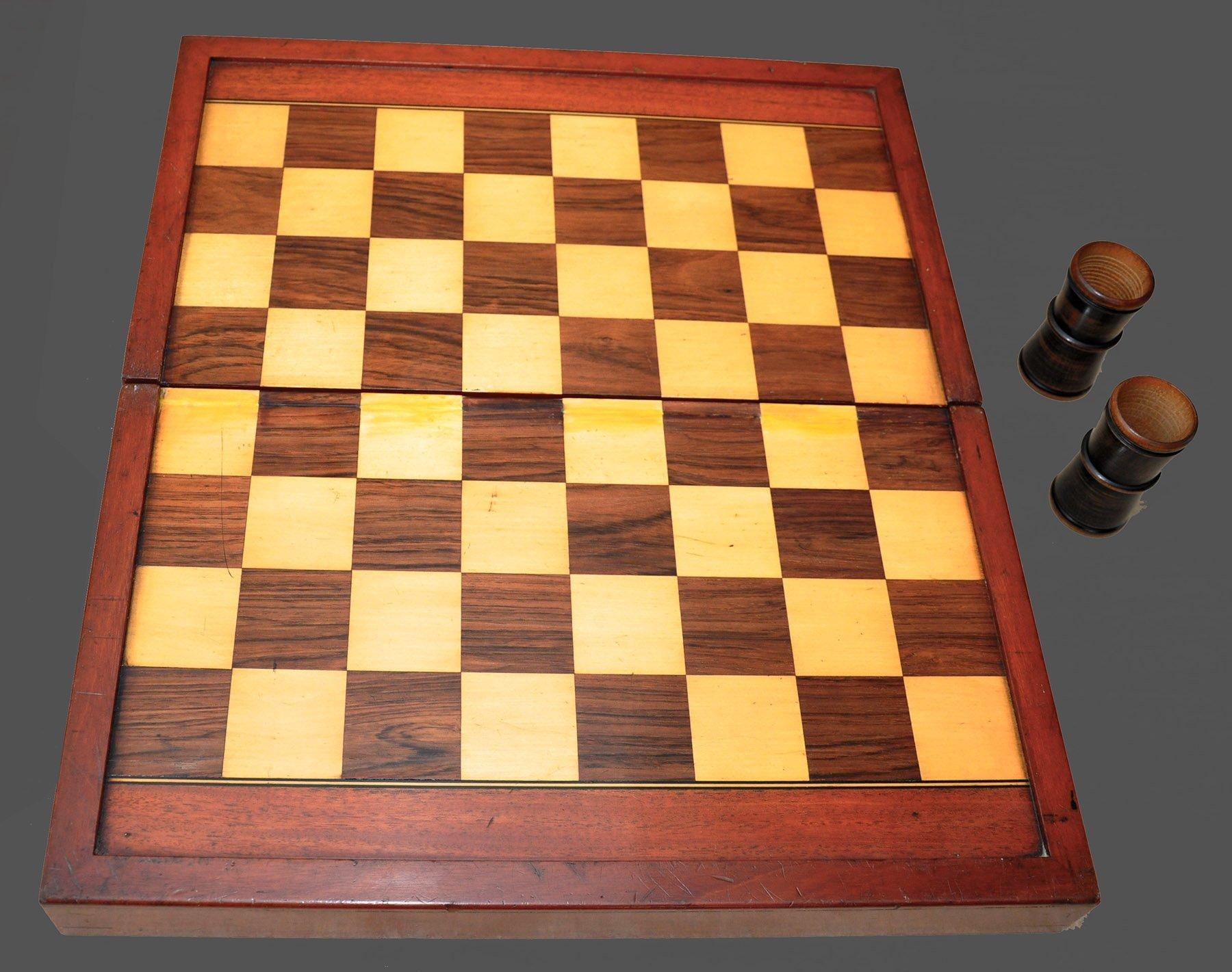 Antique Folding Chess Backgammon Board and Box