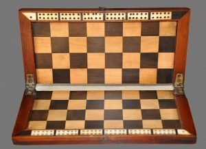 Antique Folding Travel Chessboard