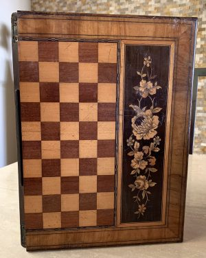 Folding Antique Continental Draughts Chessboard and Writing Slope