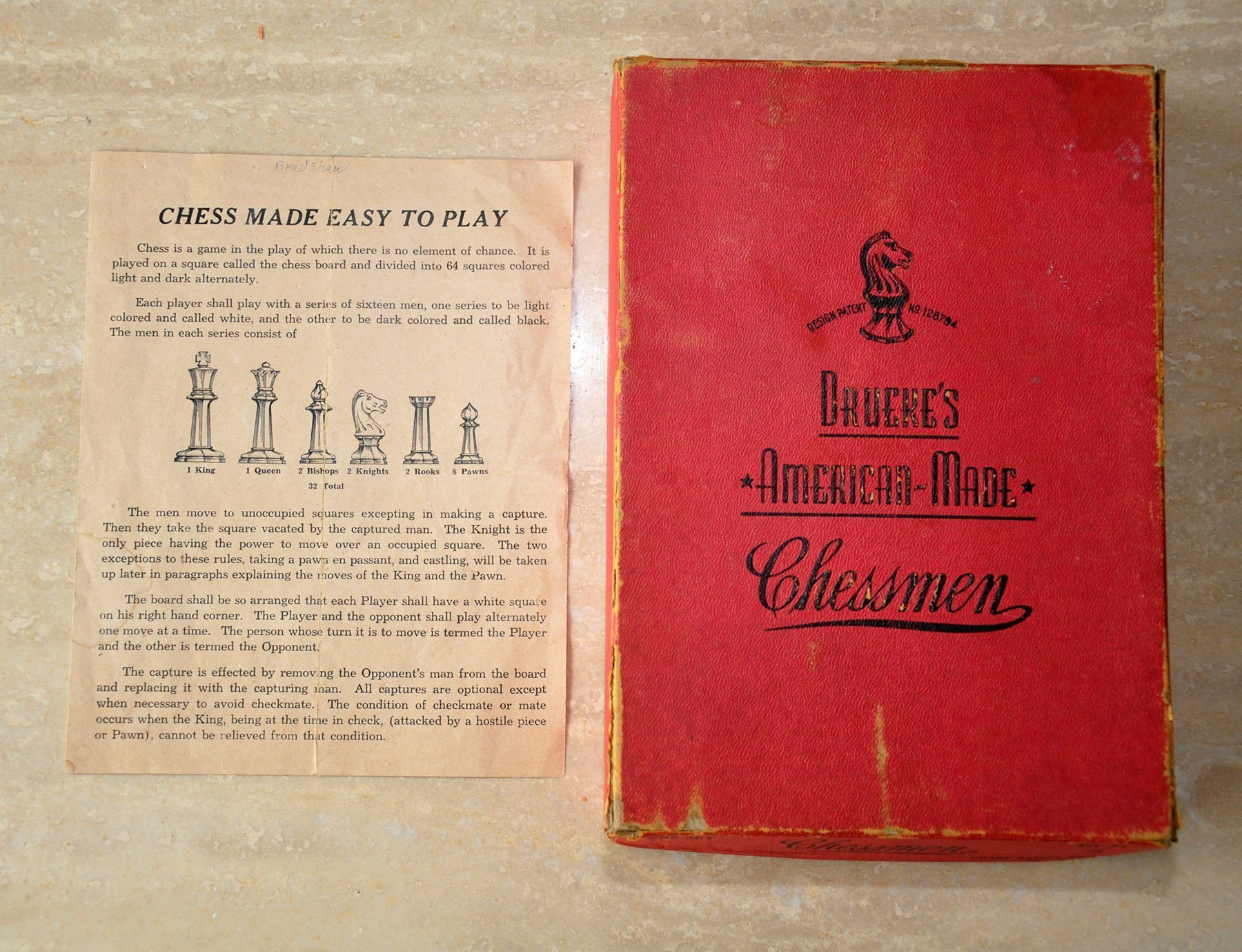 Drueke Red Octagonal Chessmen, No. 23R