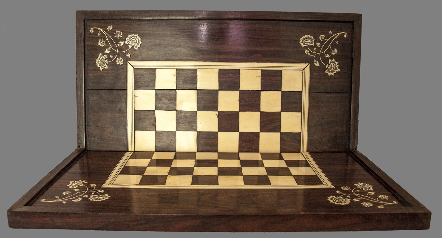 Antique Folding Coromandel Reversible Chessboard
