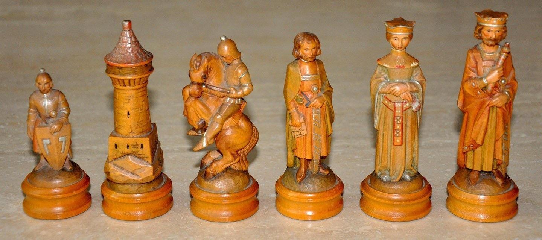Anri King Arthur Chess Set, Cased