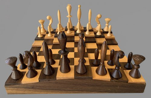Anri Space Age Chess Set In Walnut Case Cased