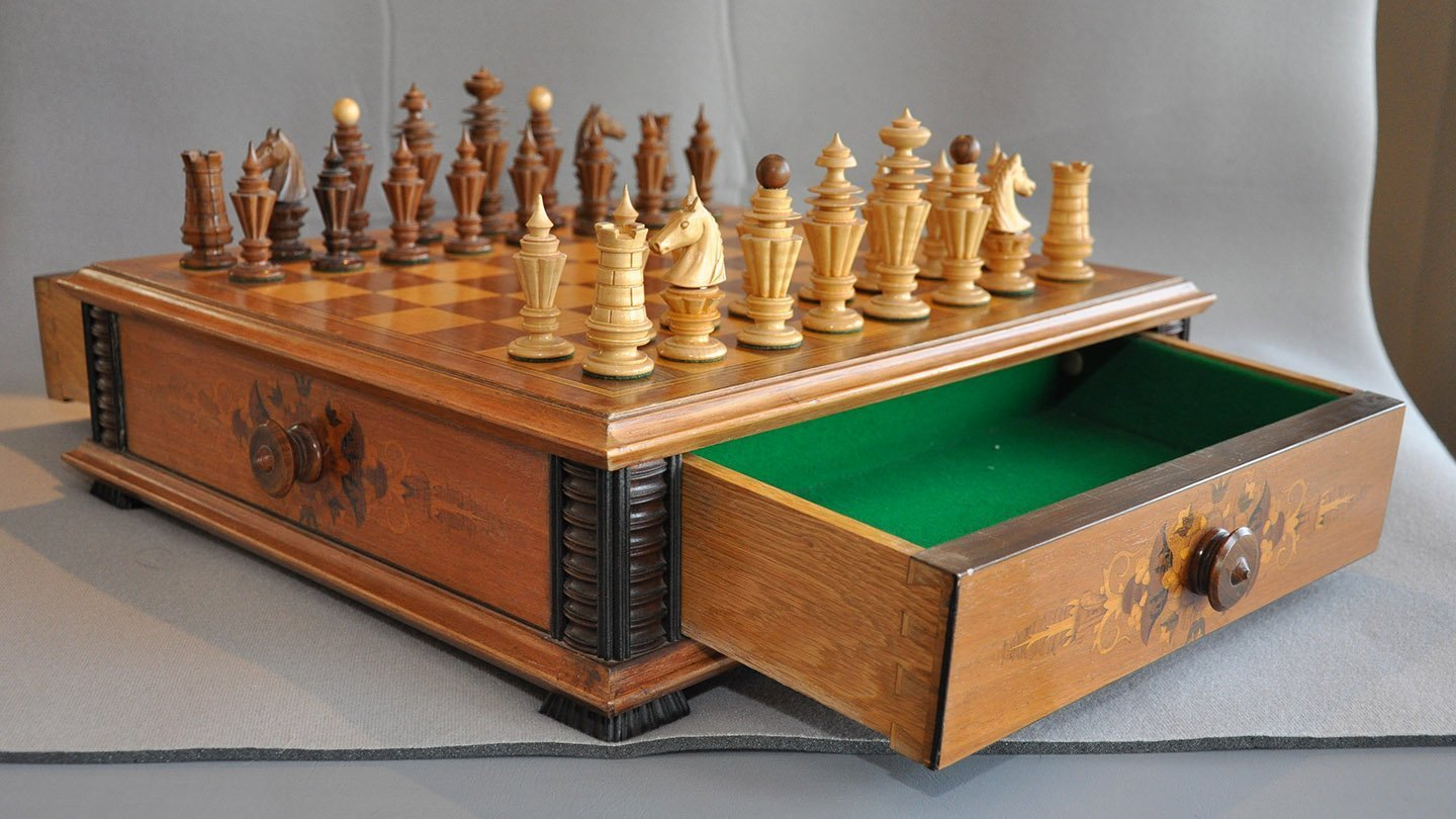 Austrian Chess Set in Board Box with Drawers
