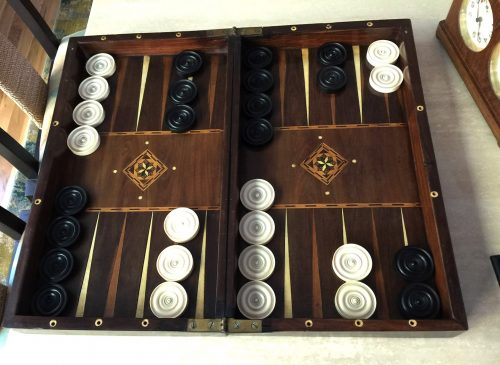 Large Antique Ivory Backgammon Checkers