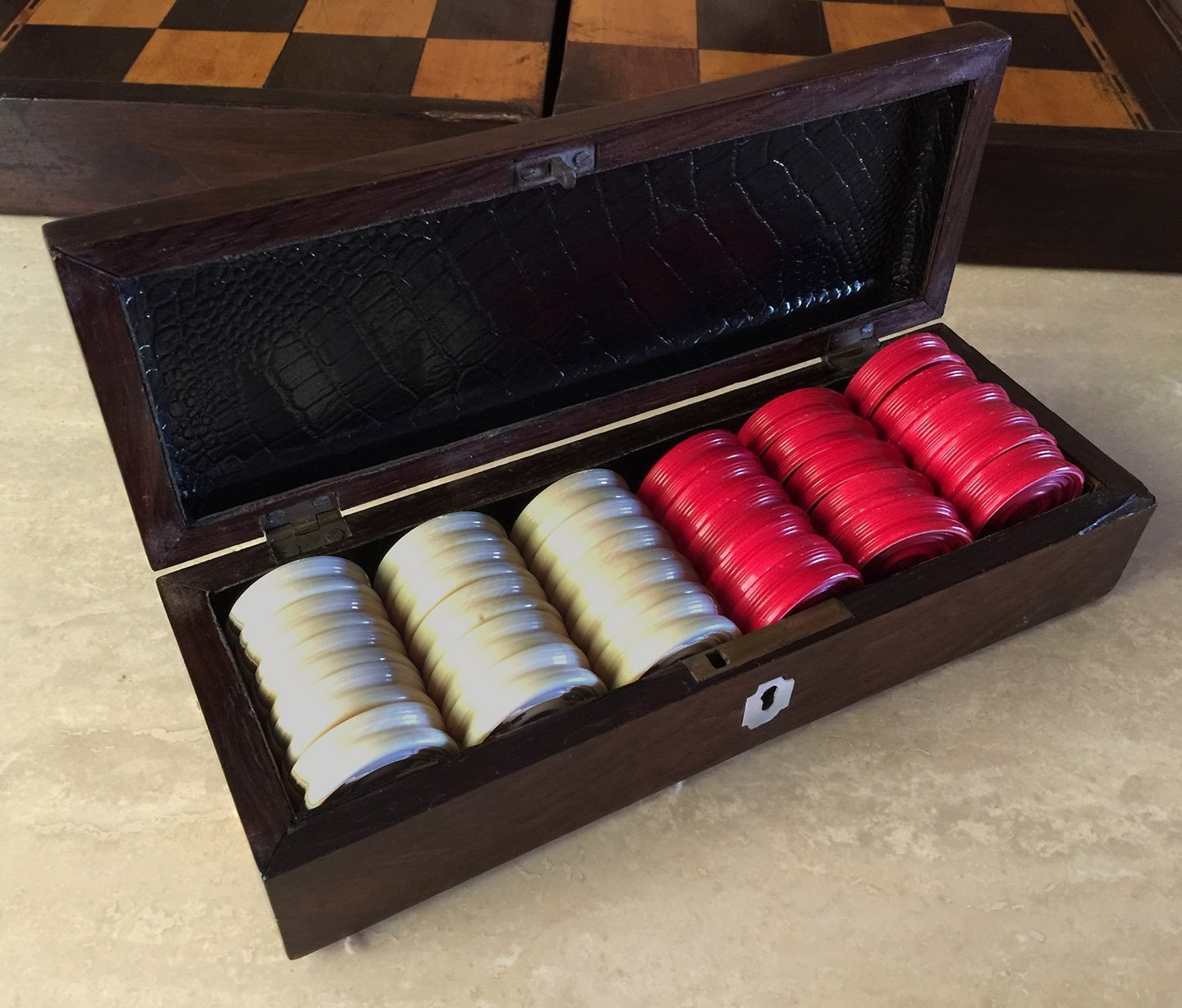 Antique Ivory Backgammon Checkers Red