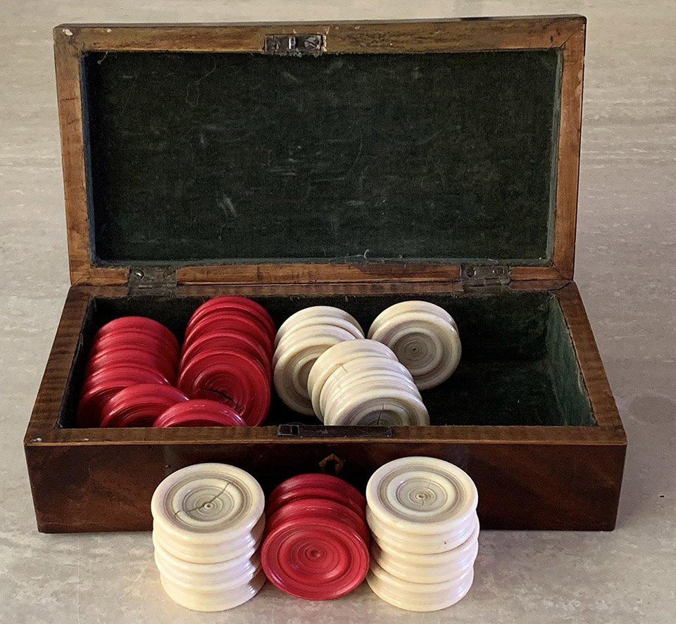 Jaques Antique Ivory Draughts