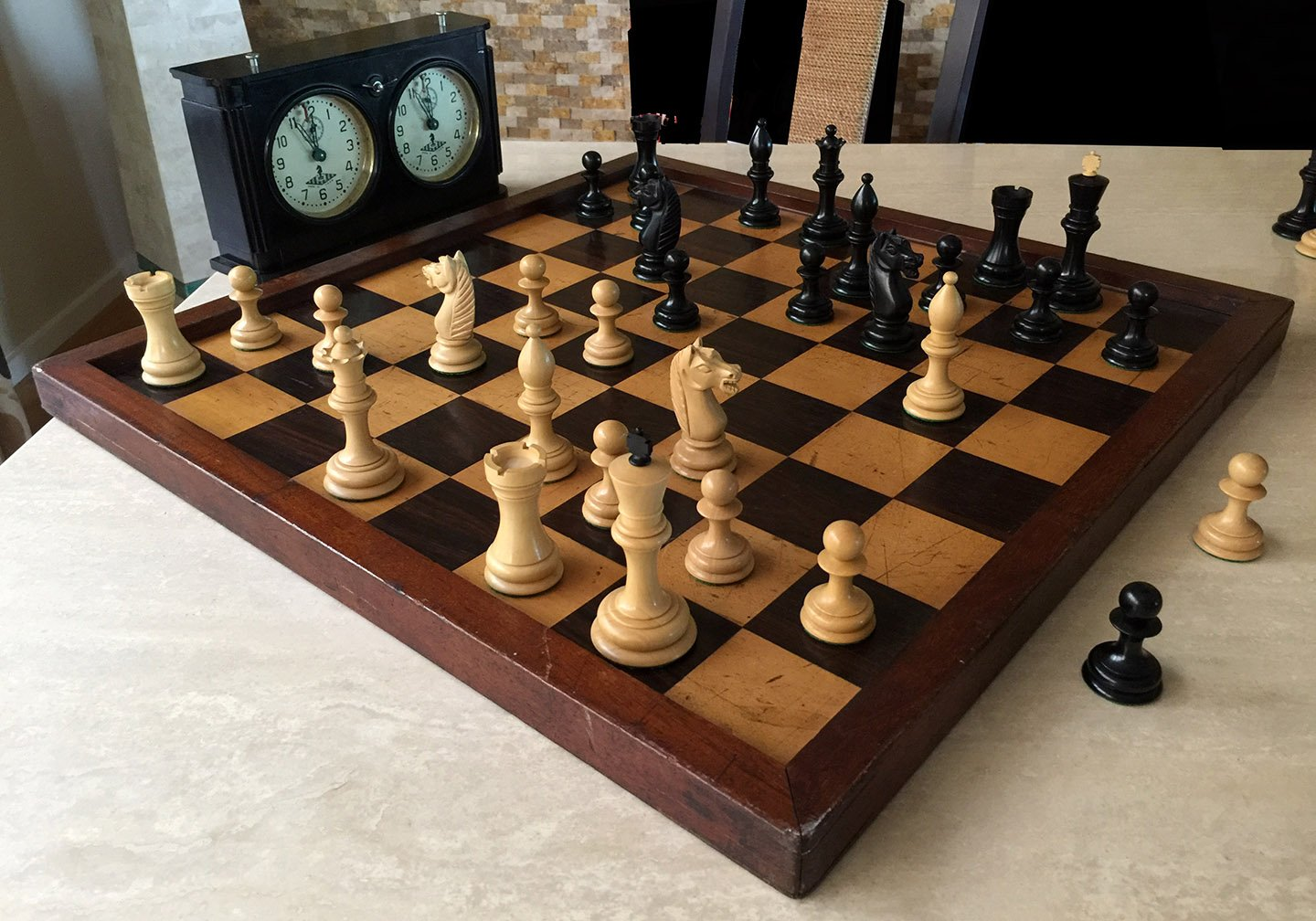 Large Antique Jaques Style Chessboard