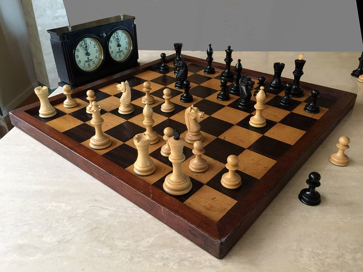 Club Size Antique Jaques Style Chessboard