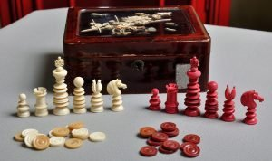 Small Lund Antique Chess Set with Draughts