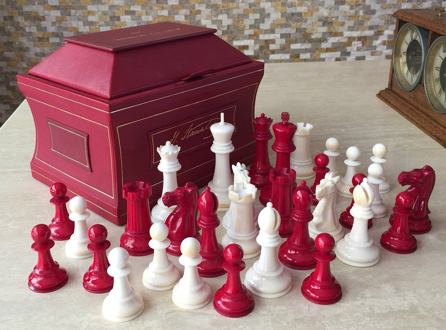 Jaques Ivory Marshall Chess Set, Club Size