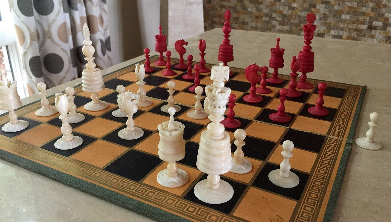 English Barleycorn Open Crown Chessmen