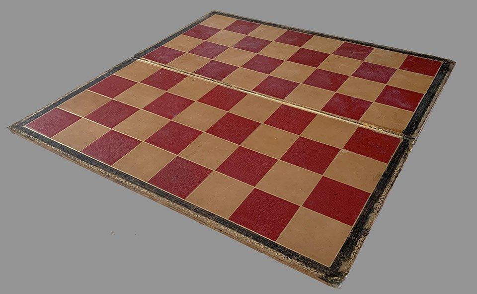 Antique Folding Cardboard Chessboard