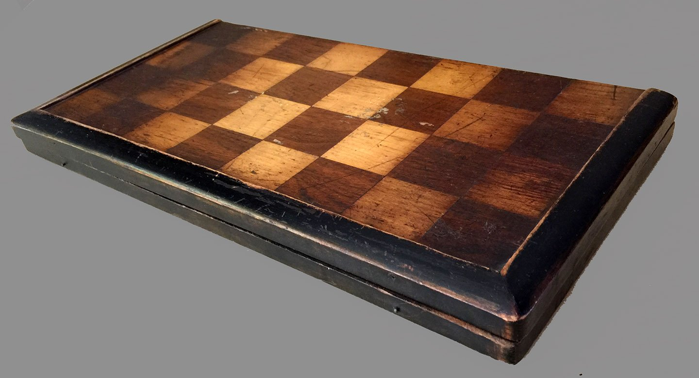 Antique Folding Wooden Chessboard