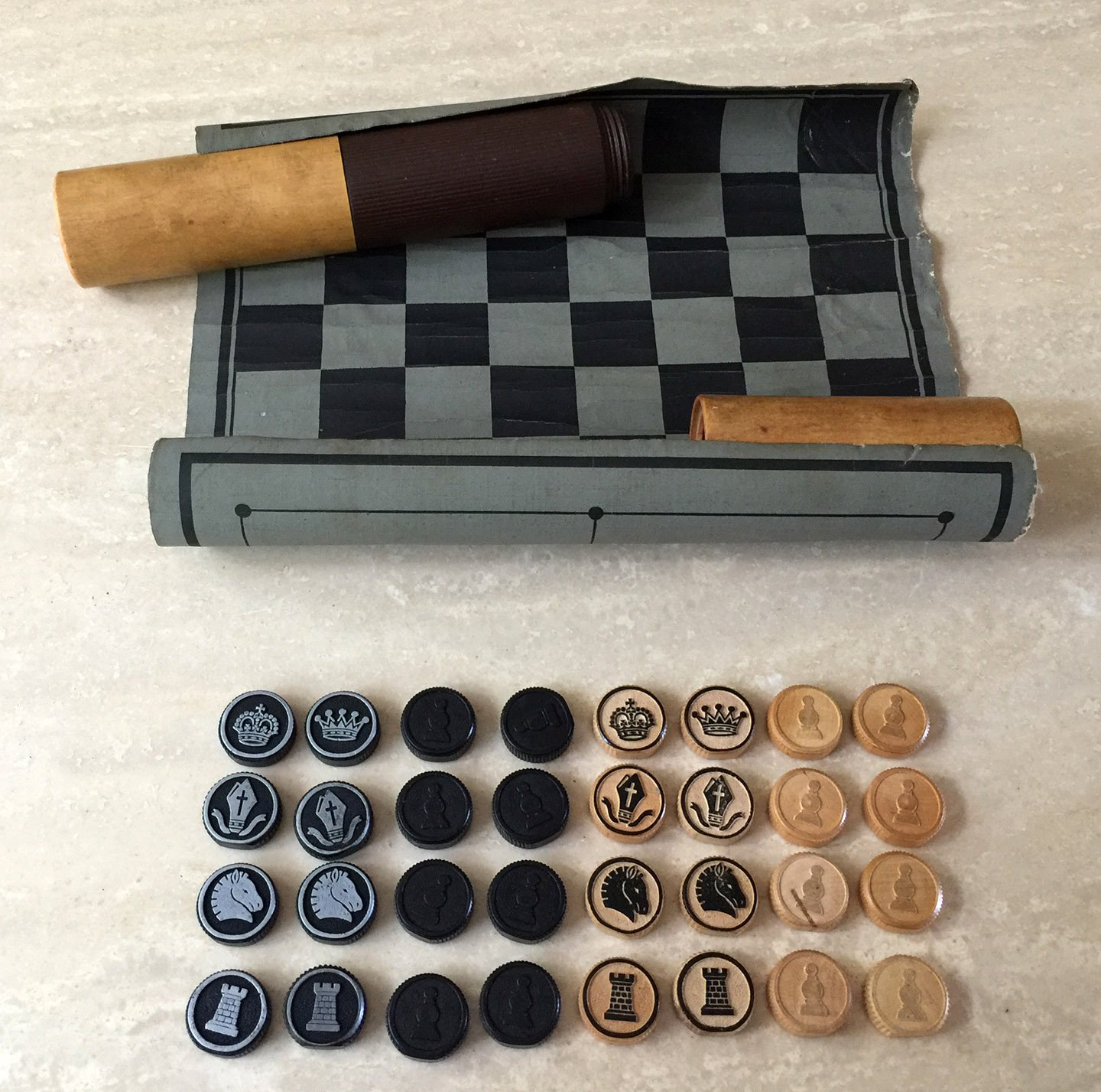 Vintage German Chess, Draughts, Nine Man Morris Portable Games Kit